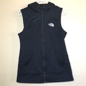 The Northface black fleece knit zip up hoody vest